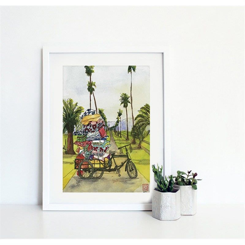 White Framed Canvas Print Wall Art - Tricycle