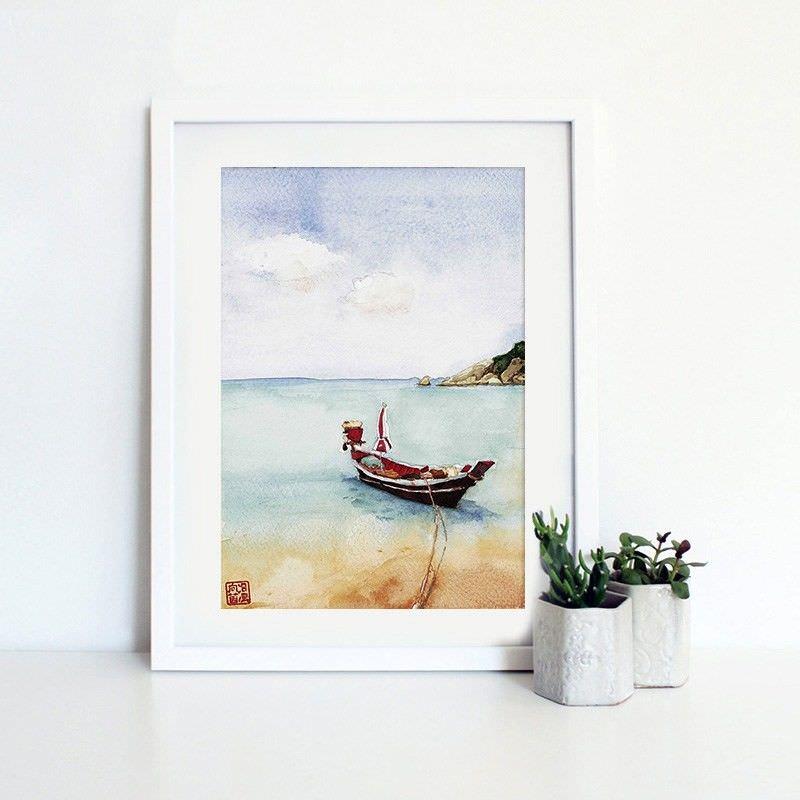 White Framed Canvas Print Wall Art - Seaside