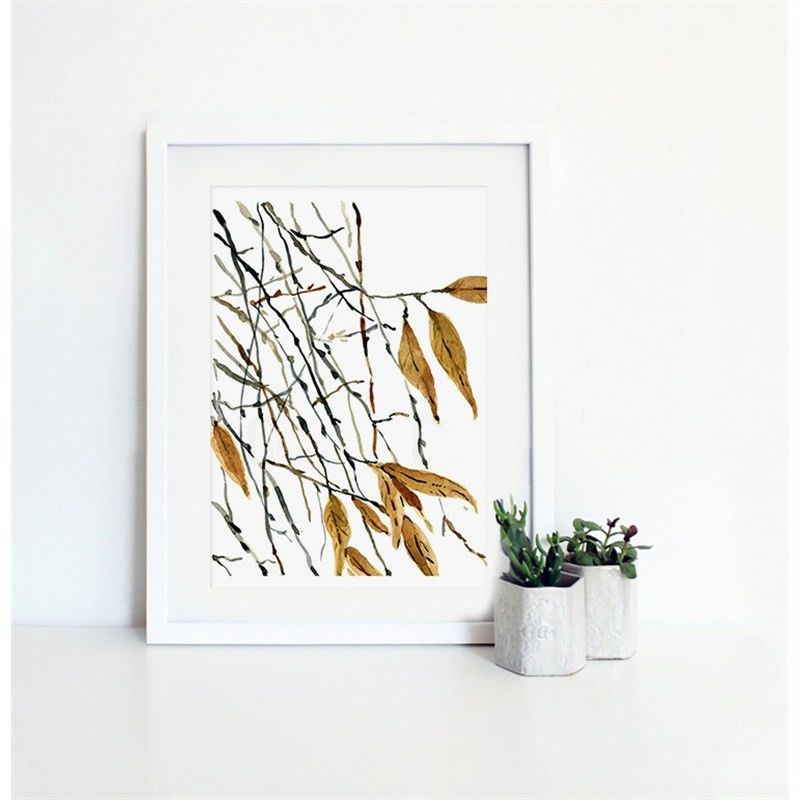 White Framed Canvas Print Wall Art - Autumn Twigs