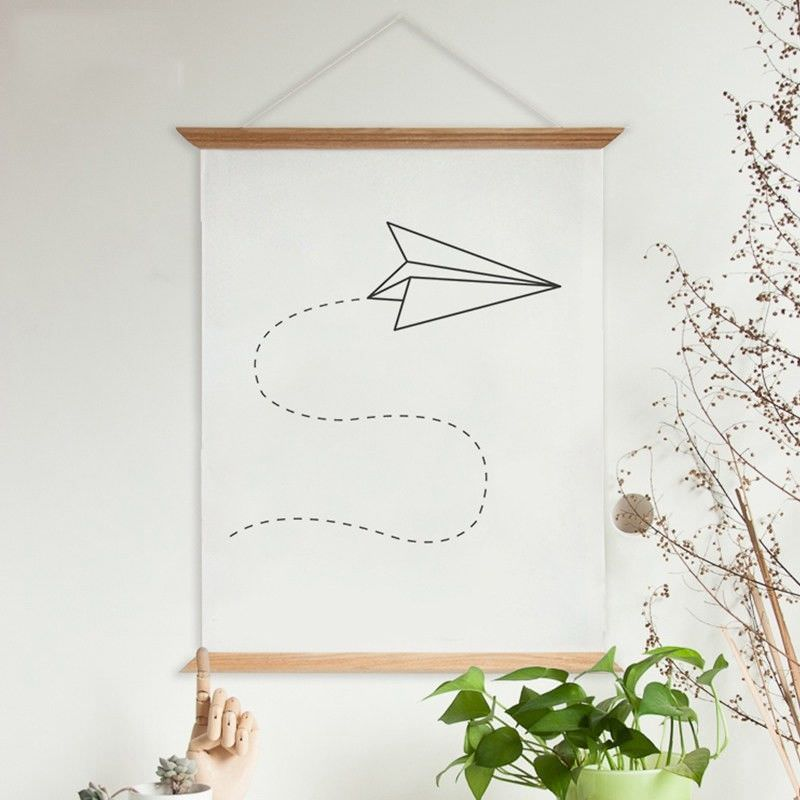 60cm Wooden Scroll Canvas Print Wall Art - Paper Plane