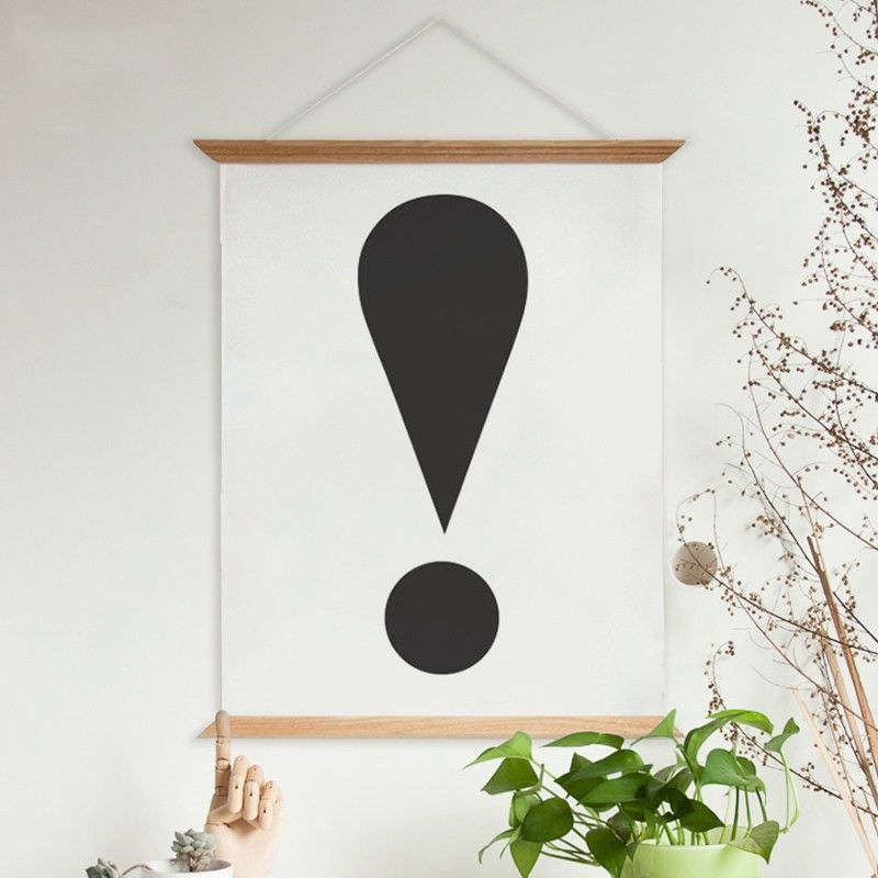 80cm Wooden Scroll Canvas Print Wall Art - Exclamation