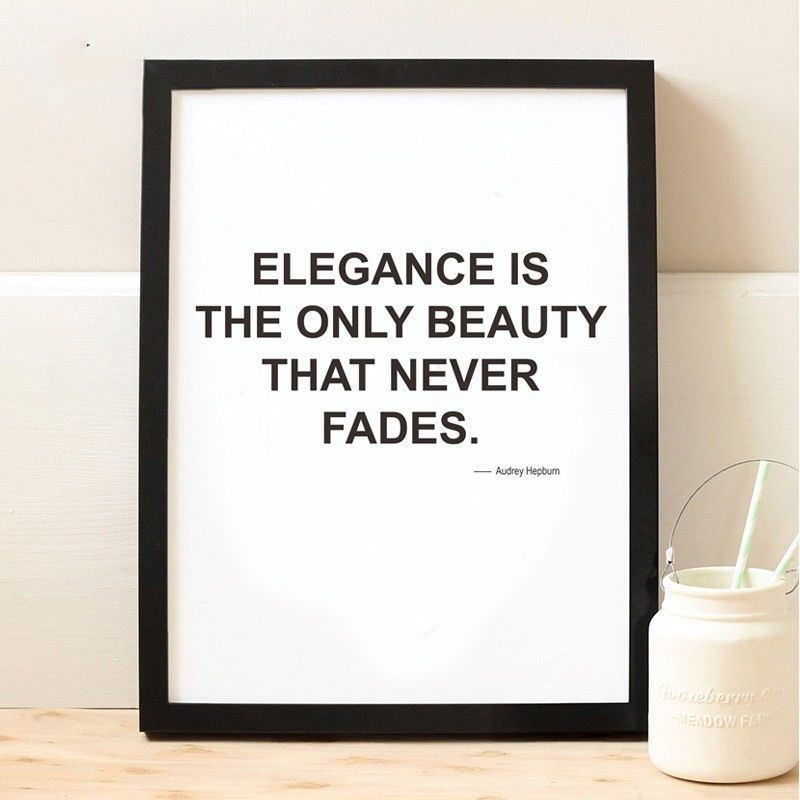 Black Framed Canvas Print Wall Art - Elegance Is The Only Beauty That Never Fades