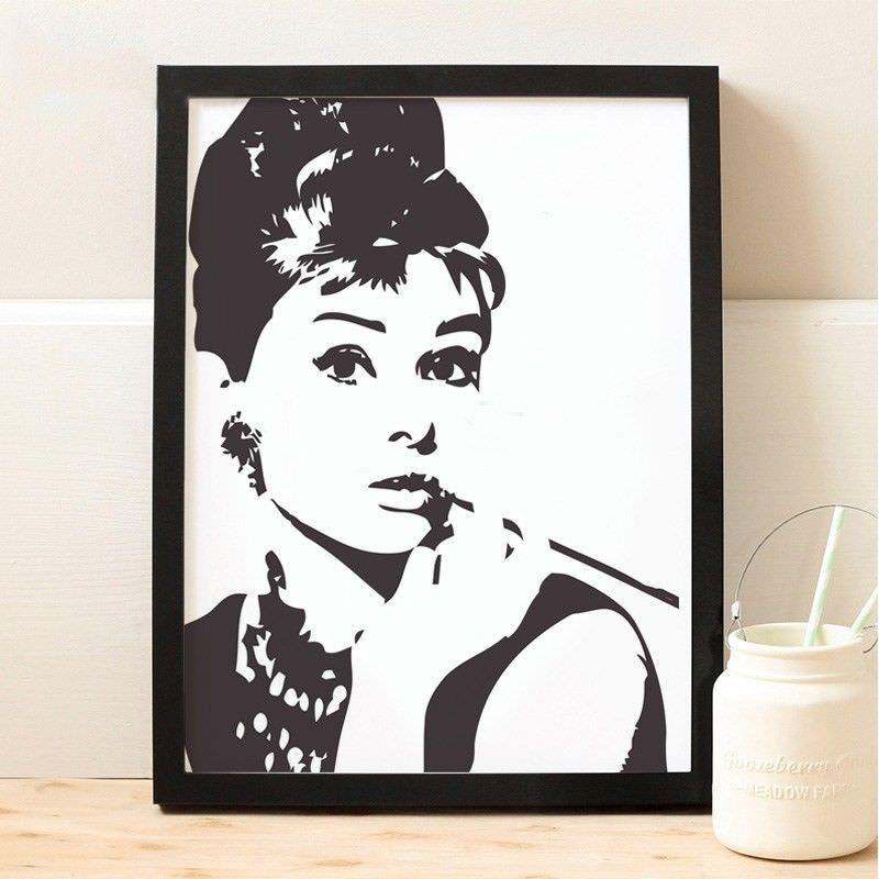 Black Framed Canvas Print Wall Art - Audrey Hepburn