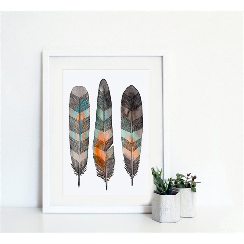 White Framed Canvas Print Wall Art - Ink Feather A