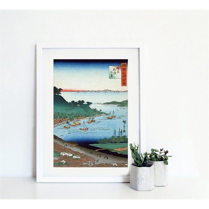 White Framed Canvas Print Wall Art - View of Niigata by Utagawa Hiroshige