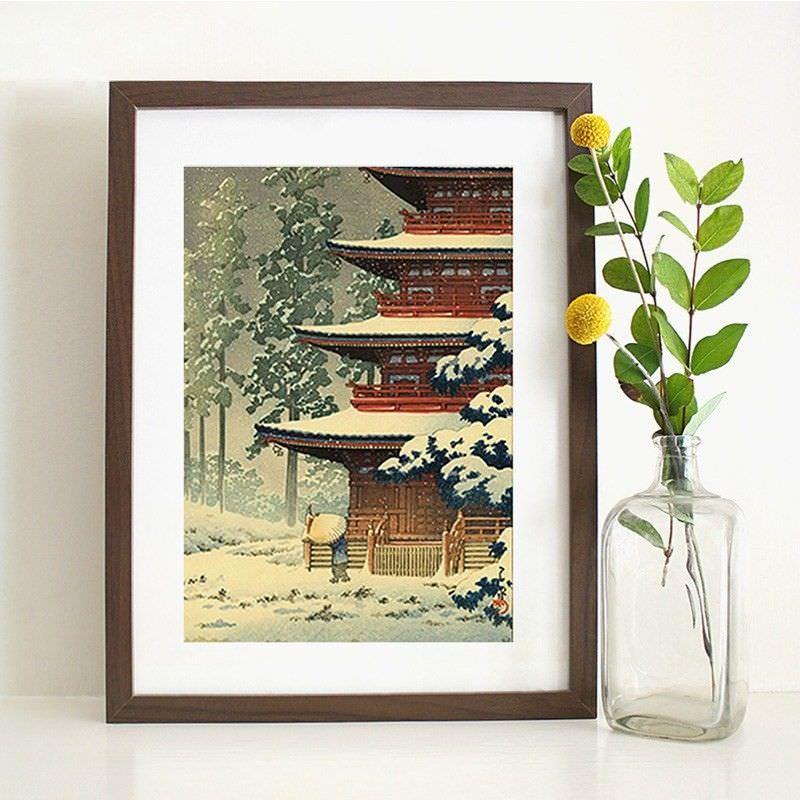 Brown Framed Canvas Print Wall Art - Saisho Temple in Hirosaki by Hasui Kawase
