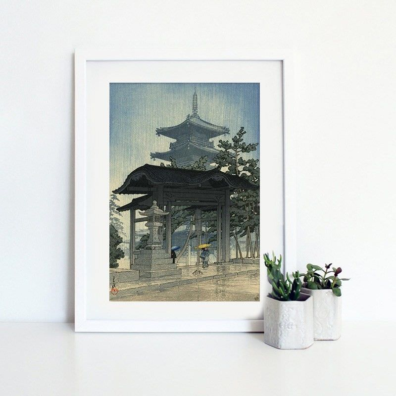 White Framed Canvas Print Wall Art - Zentsuju Temple by Hasui Kawase