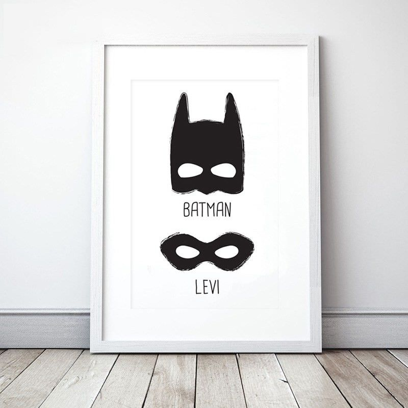 White Framed Canvas Print Wall Art - Batman and Levi