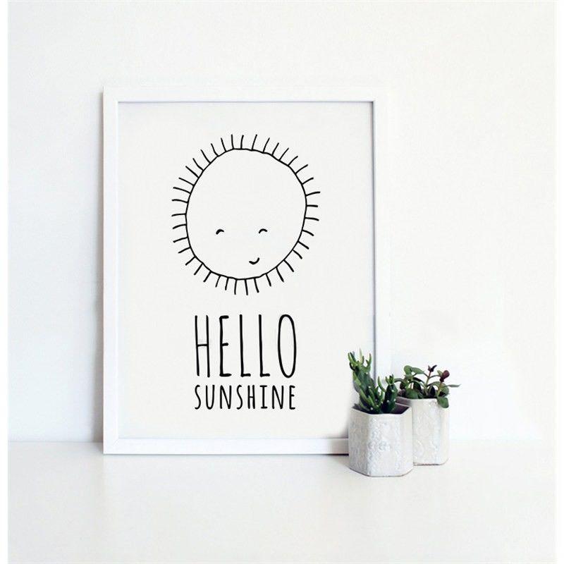 White Framed Canvas Print Wall Art - Hello Sunshine
