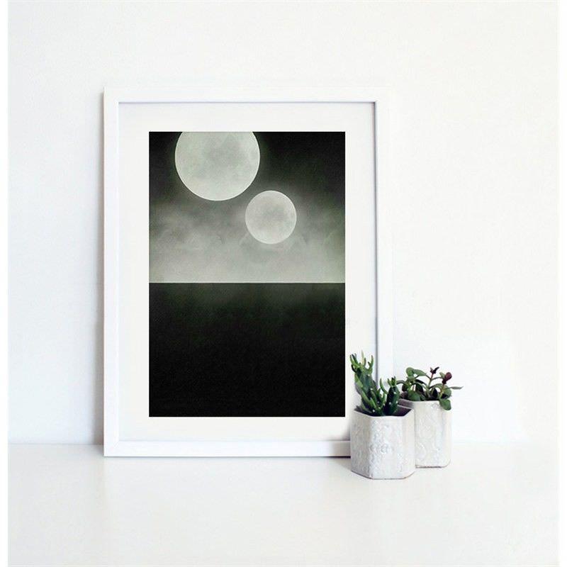 White Framed Canvas Print Wall Art - Twin Moon