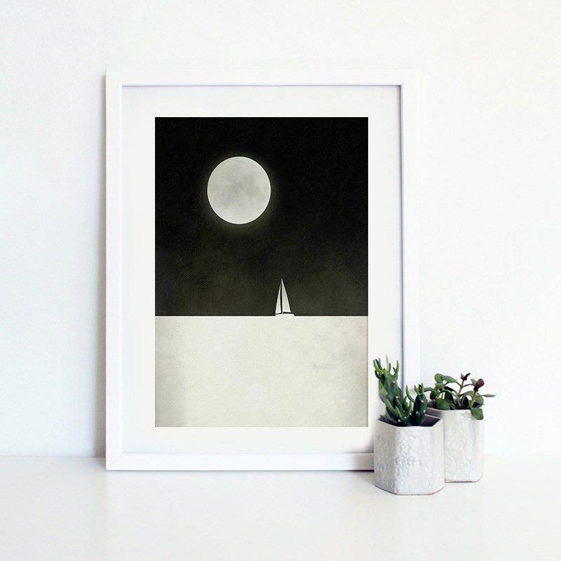 White Framed Canvas Print Wall Art - Impression of Sea Night