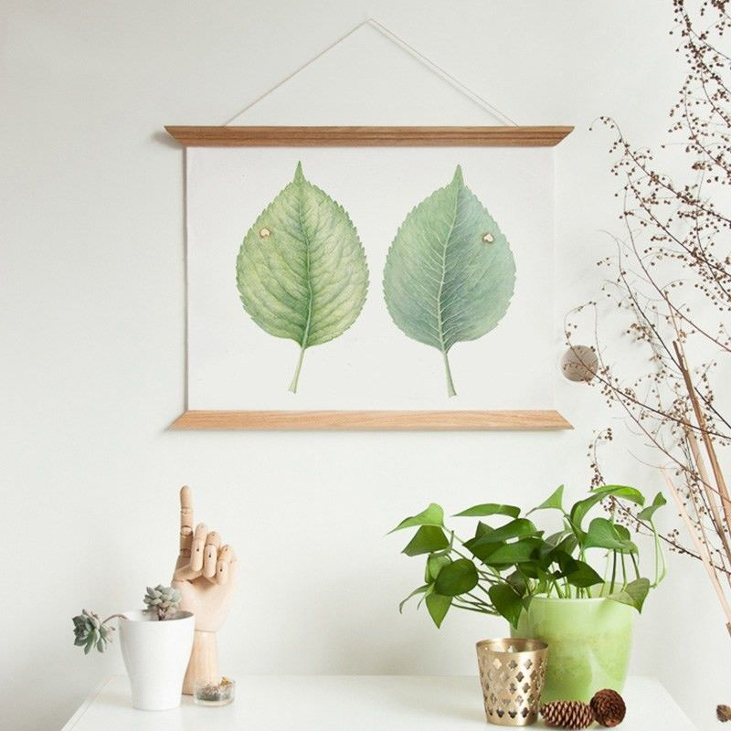60cm Wooden Scroll Canvas Print Wall Art - Leaf