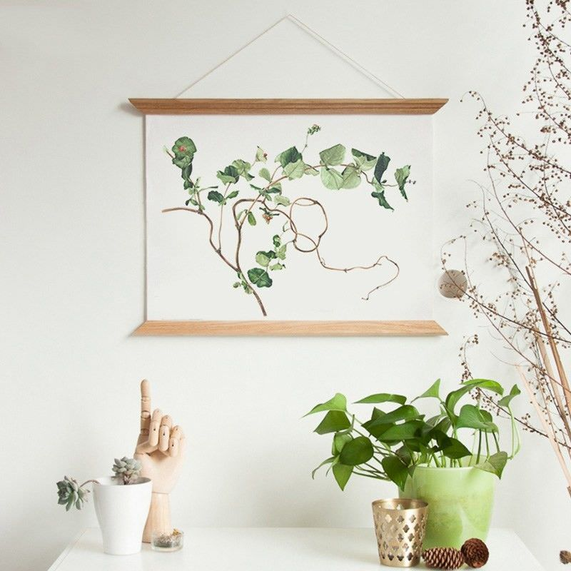 45cm Wooden Scroll Canvas Print Wall Art - Ivy