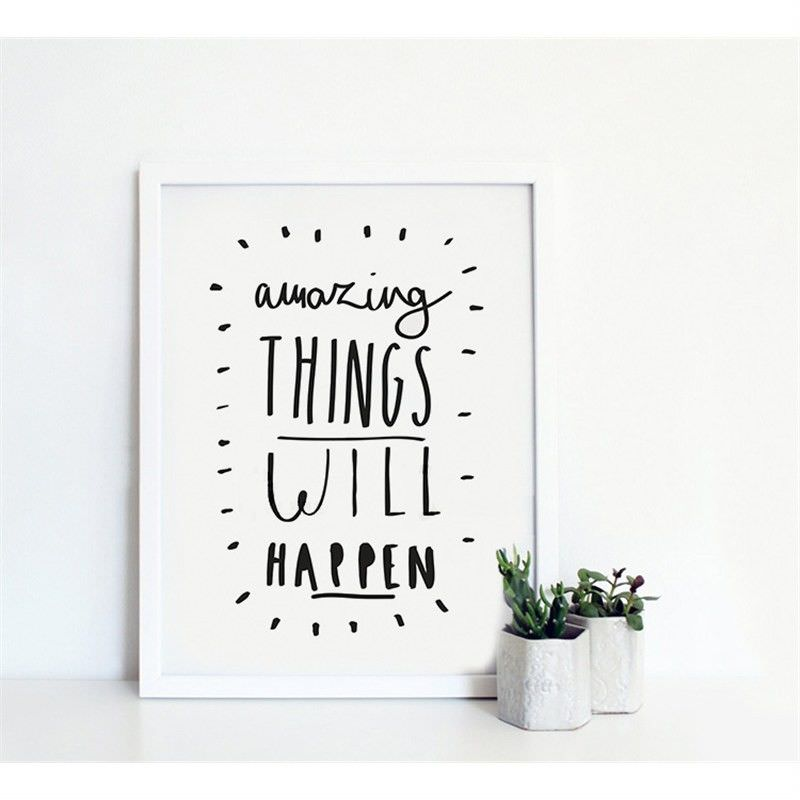 White Framed Canvas Print Wall Art - Amazing Things Will Happen