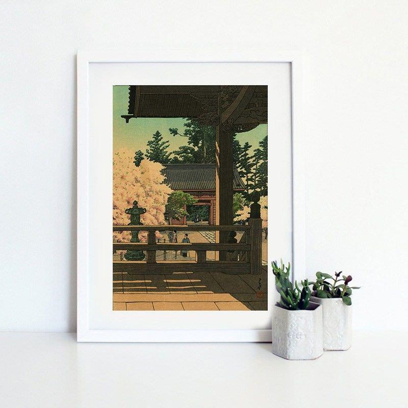 White Framed Canvas Print Wall Art - Myohon Temple by Hasui Kawase