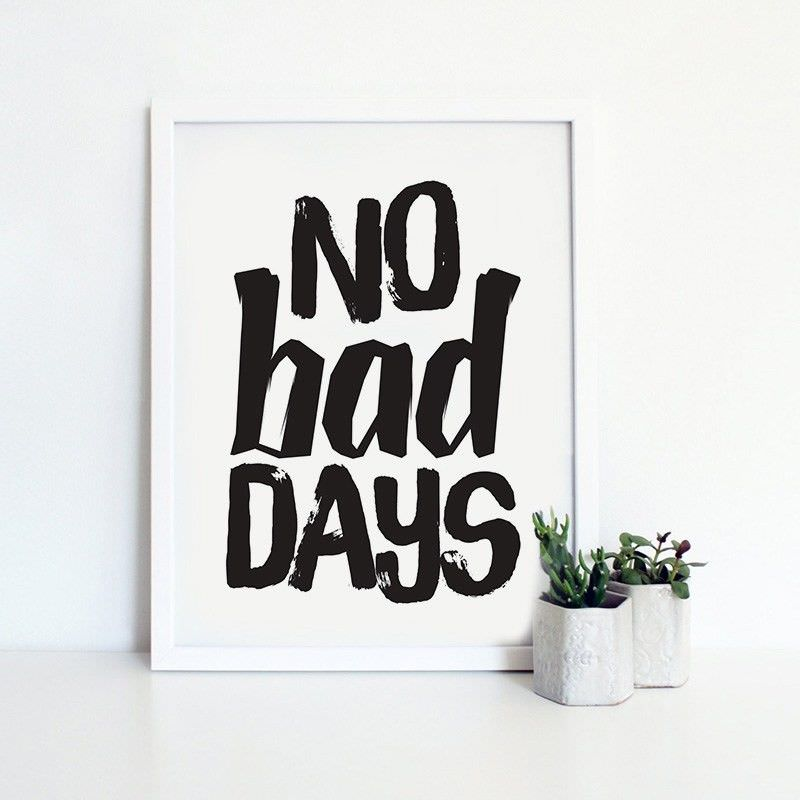 White Framed Canvas Print Wall Art - No Bad Days