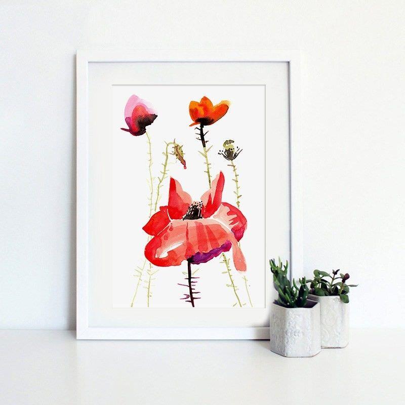 White Framed Canvas Print Wall Art - Summer Garden B