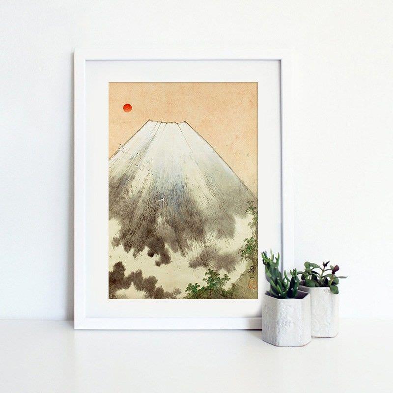 White Framed Canvas Print Wall Art - Fuji Mountain