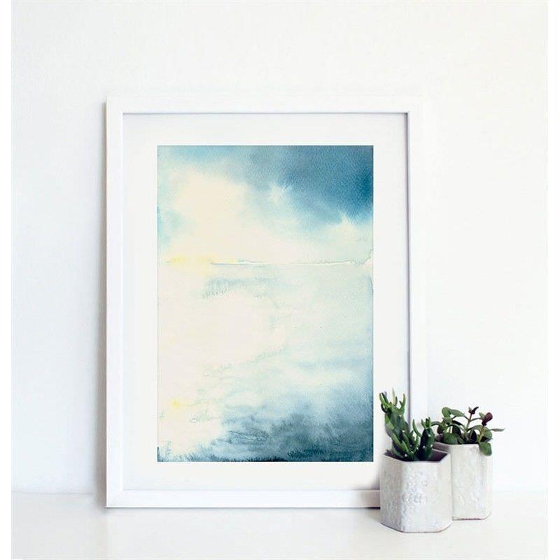 White Framed Canvas Print Wall Art - Blue Mist C