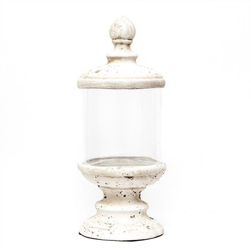 Cement Base and Lid with Clear Glass Display Stand - Large