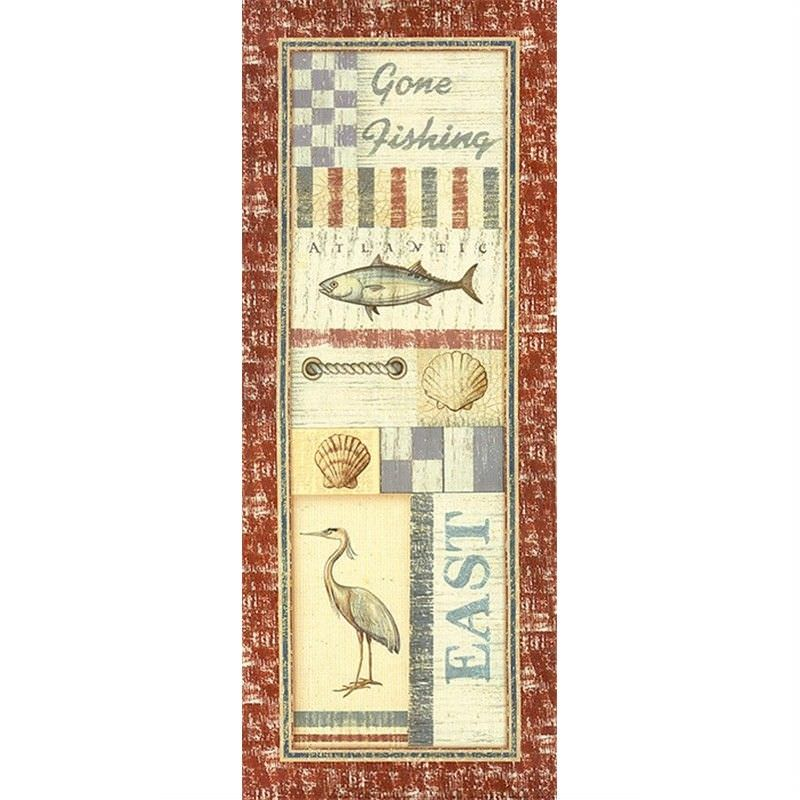 Coastal Icons 30x75cm Cotton Canvas Print - Fishing