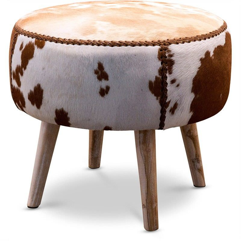 Alexa Cowhide Low Stool / Ottoman, Brown/White