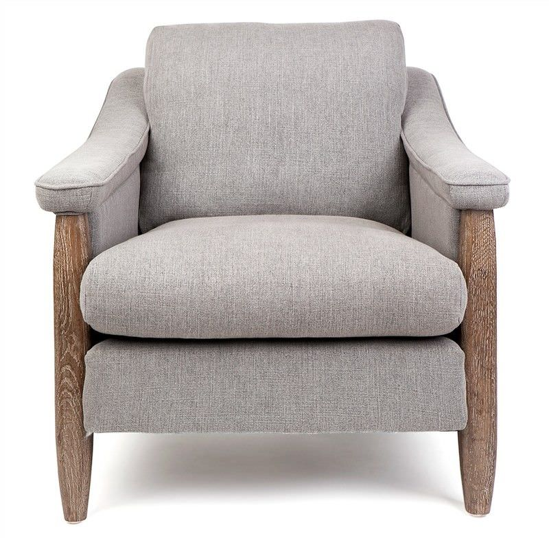 Calgary Linen and Solid Oak Timber Armchair,  Grey