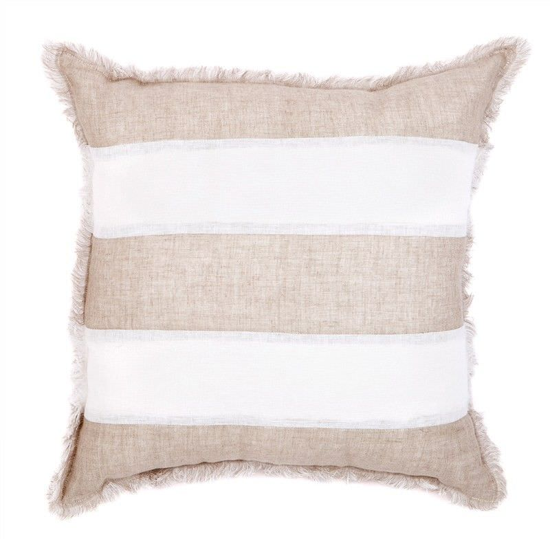 Winona Fringed Linen Scatter Cushion - Striped