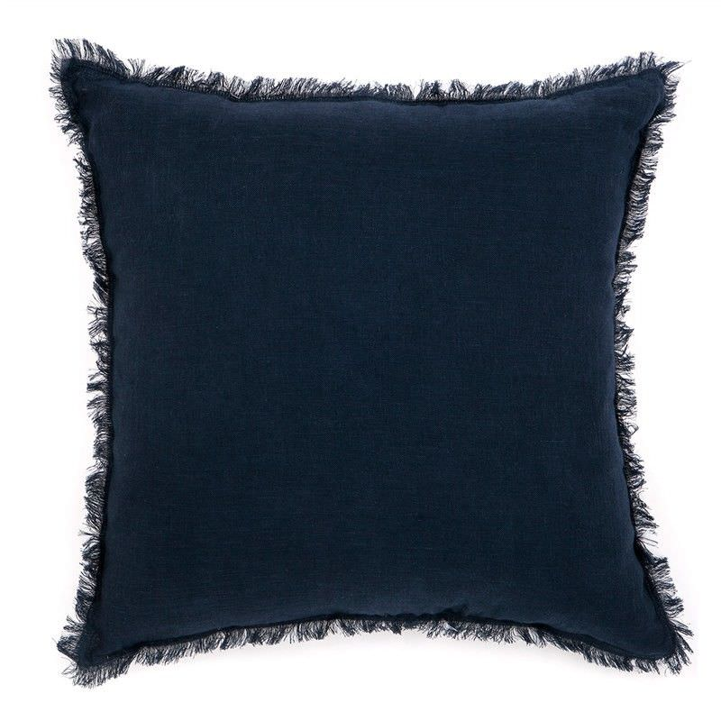 Winona Fringed Linen Scatter Cushion - Navy