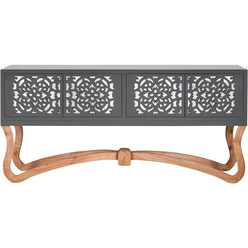 Sienna Wooden Ornamental 4 Door Low Console Table,  Grey/Natural