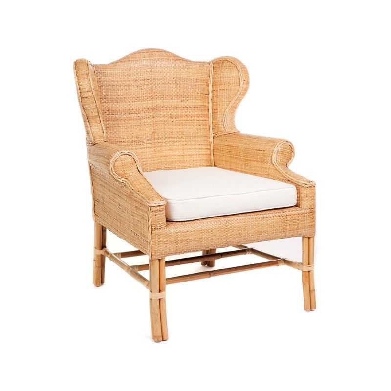 St.Barts Hand Woven Wicker and Rattan Armchair with Seat Cushion