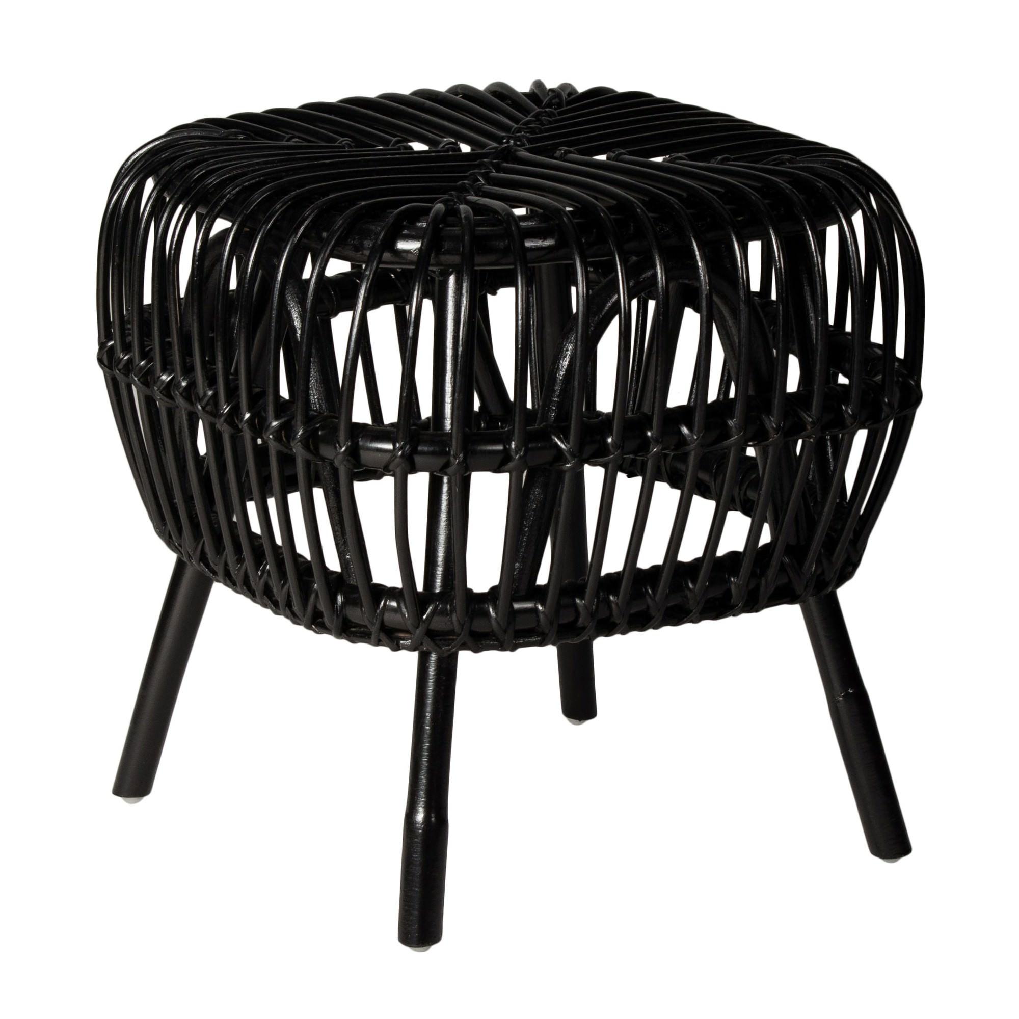 Norman Rattan Side Table, Black
