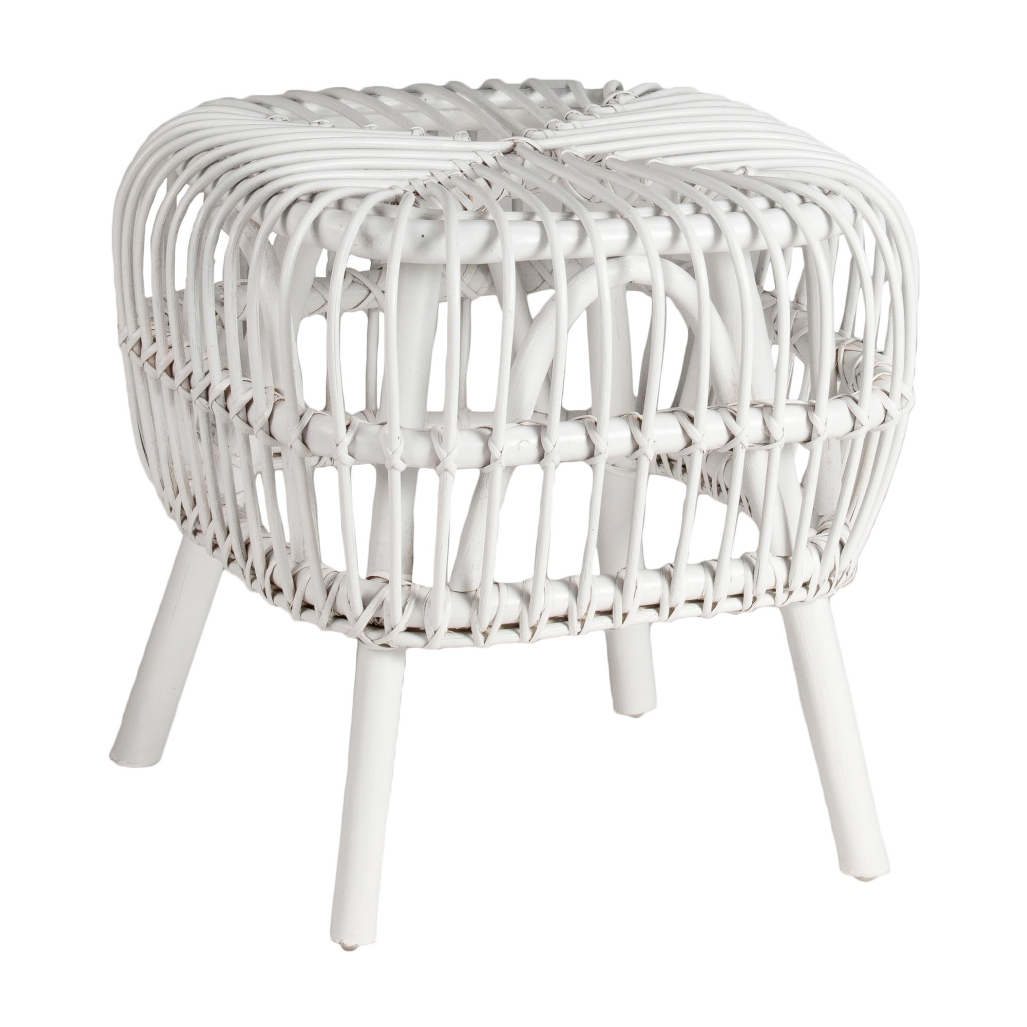 Norman Rattan Side Table, White