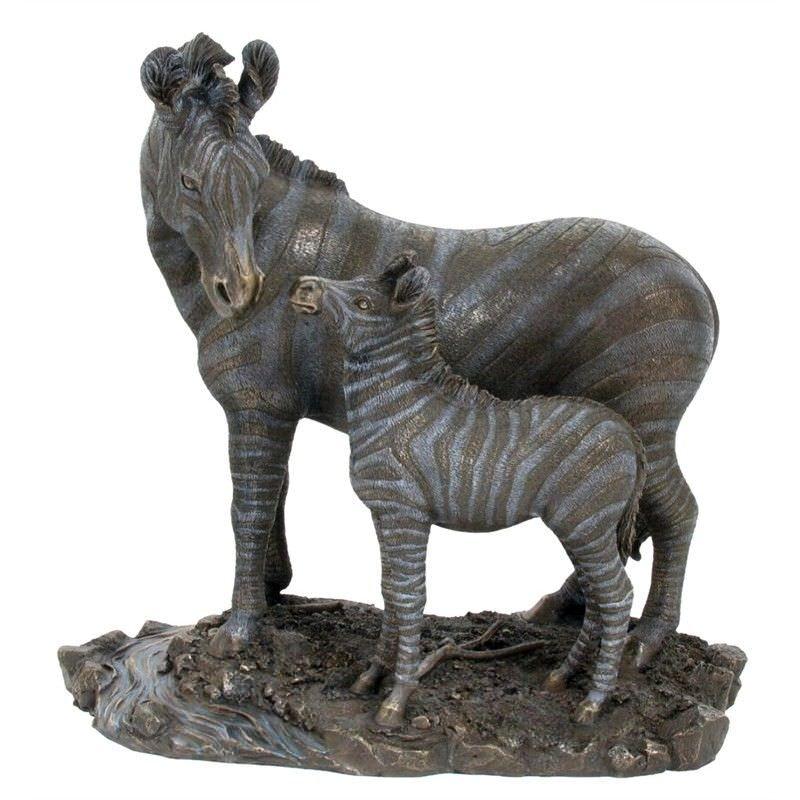 Cast Bronze Wild Life Figurine, Mother Zebra and child