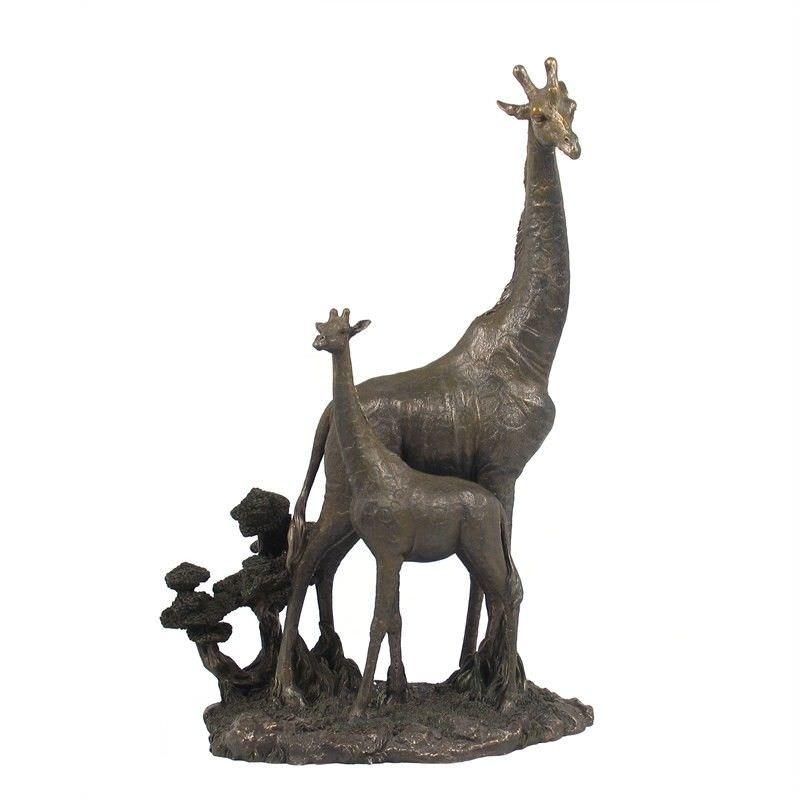 Cast Bronze Wild Life Figurine, Mother Giraffe and child