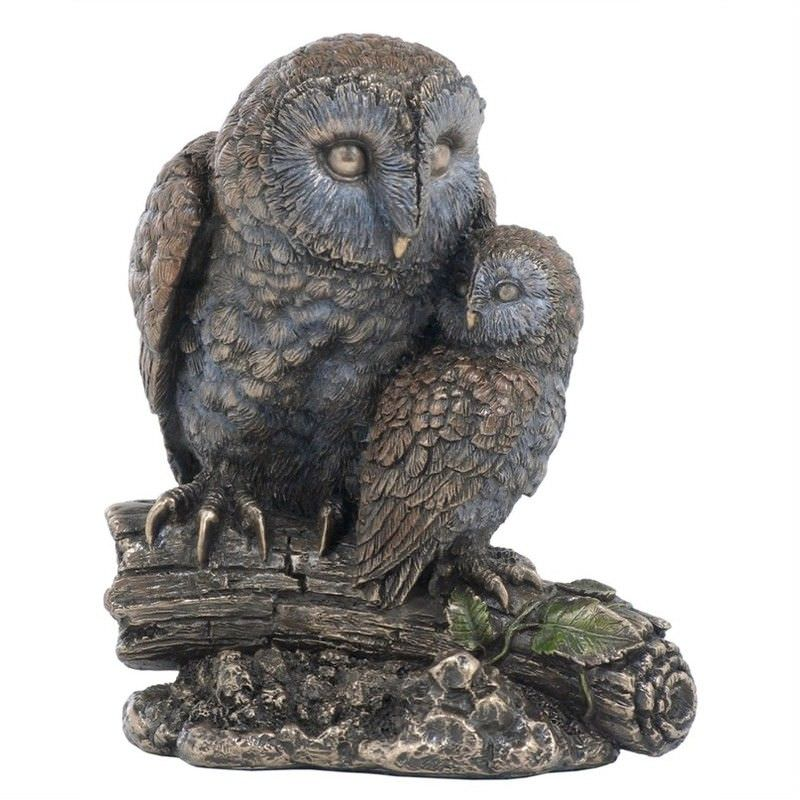 Cast Bronze Wild Life Figurine, Mother Owl and child