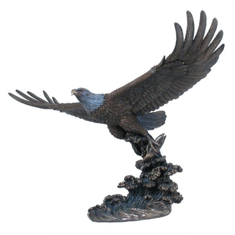 Veronese Cold Cast Bronze Coated Wild Life Figurine, Soaring Eagle