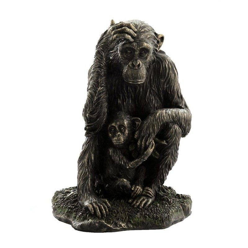 Veronese Cold Cast Bronze Coated Wild Life Figurine, Mother Chimpanzee and child