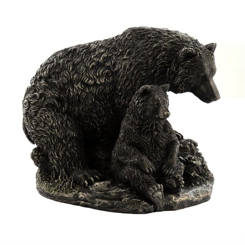 Cast Bronze Wild Life Figurine, Mother Bear and child