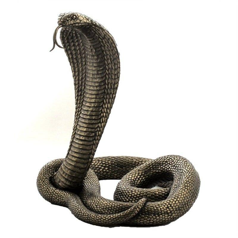 Cast Bronze Wild Life Figurine, King Cobra