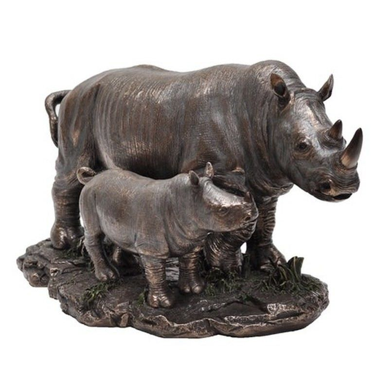 Wild Life Figurine, Rhino Mother and Child