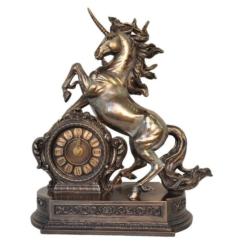 Cast Bronze Unicorn Table Clock