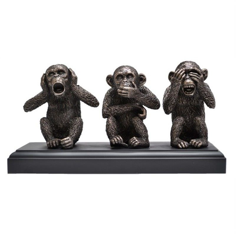 Veronese Cold Cast Bronze Coated Figurine, Three Wise Monkeys