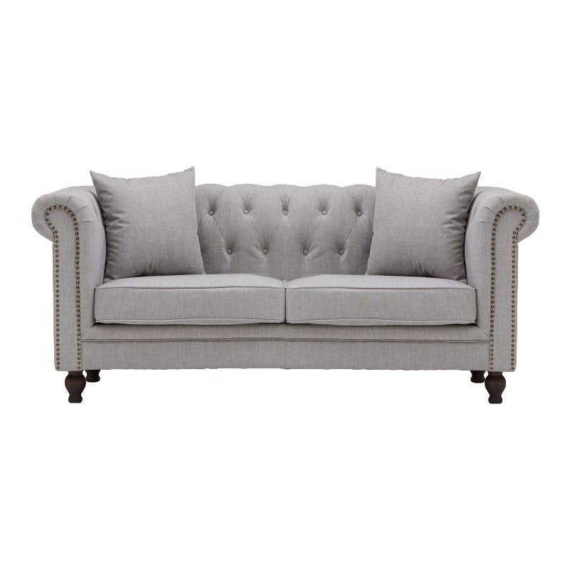 Amedeus Fabric Chestfield Sofa, 2 Seater, Grey
