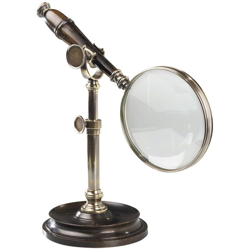 Cambridge Rosewood Handle Magnifier with Stand - Bronze