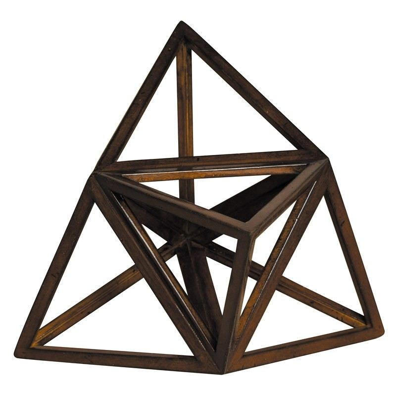 Solid Timber Elevated Platonic Tetrahedron Model - The Element Fire