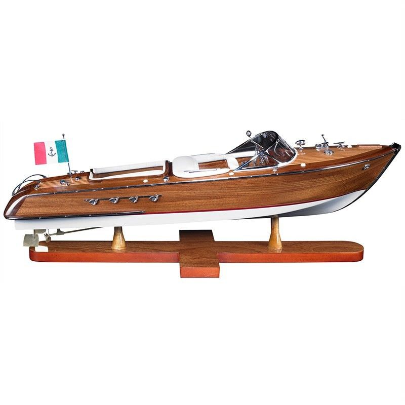 Handcrafted Wooden Aquarama Speedboat Model, Small
