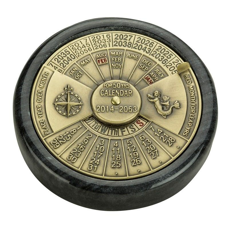 Nautical Solid Brass Perpetual Calendar on Marble Base