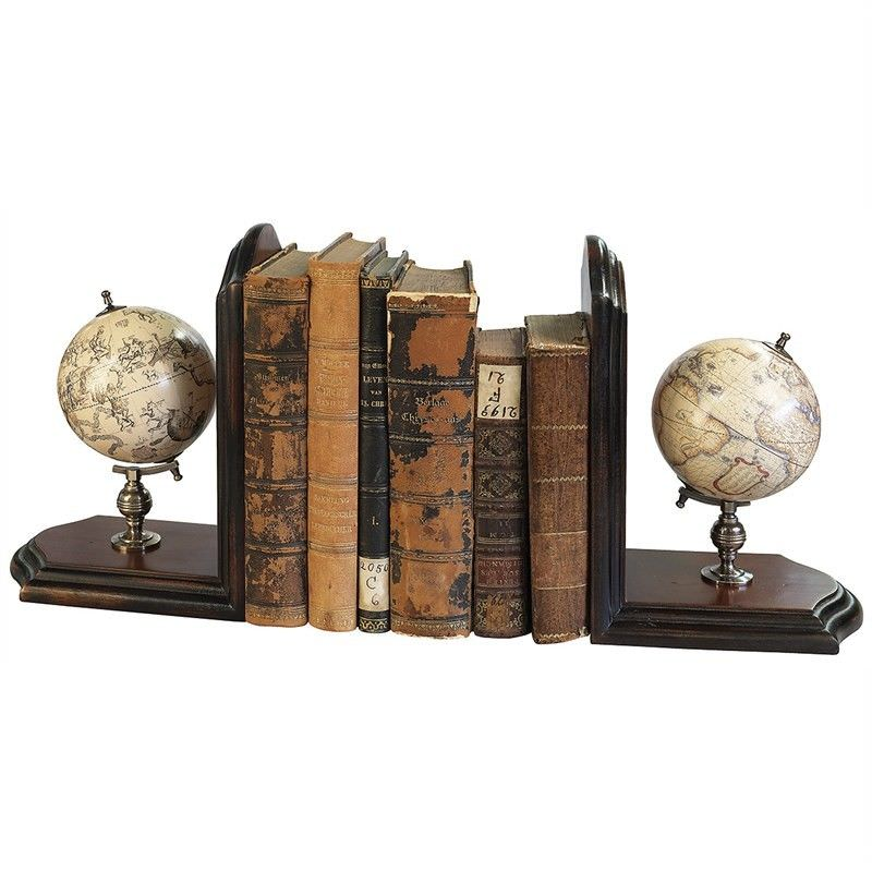 Wooden Base Celestial and Terrestrial Globe Bookends