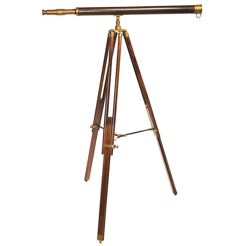 Avalon Solid Brass and Leather Timber Telescope on Timber Tripod